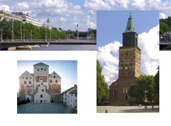 the Aura river, the Castle and the Cathedral of Turku
